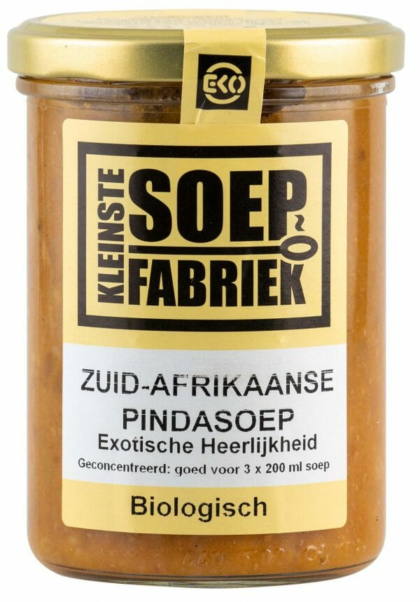 Kleinstesoepfabriek Soepfabriek Biologisch Veganistisch Vegan Vegetarisch Bio Soep Zuid-Afrikaanse Pindasoep
