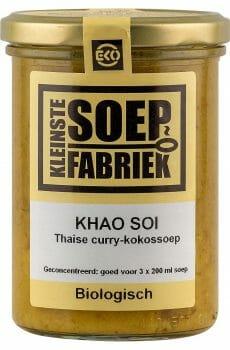 Kleinstesoepfabriek Soepfabriek curry soep Biologisch Veganistisch Vegan Vegetarisch Bio Soep Thaise Khao Soi Kokossoep